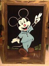 Vtg Mickey Mouse On Black Velvet Painting Wooden Frame signed Ange