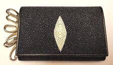 Genuine Stingray Wallets Skin Leather Keychain Keyrings Men's Black Purses Bags