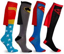 Unisex Superman Batman Wonder Woman Knee High Long Cosplay Sock With Cape Soccer