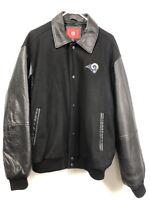 Los Angeles RAMS Varsity Jacket Men's XL Wool Blend Leather Coat NFL Black
