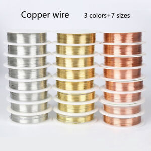 1 Roll Brass Silver Gold Red Copper Wire Line for DIY Jewelry Making 0.2-1mm