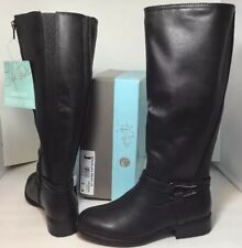 NEW LIFE STRIDE Womens Boots Size 6 Long Zip Wide Calf Shaft Black Leather Shoes