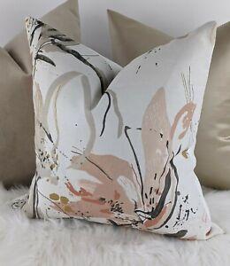 "Villa Nova Artesia Fabric Cushion Cover 17x17"" Blush Coral Floral Brushstrokes"