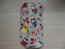 Kids Handmade Seat Belt Pad Reversible - Owls / Red/white polka dot (46)