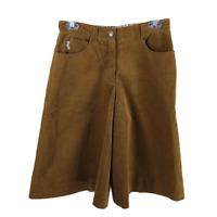 Burberry Size 6 US 8 UK Corduroy Cullotte Pants Cropped Brown Wide Leg Cotton
