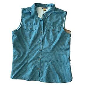Eddie Bauer Adventurer Vest Turquoise Plaid Sleeveless Button Front Shirt Top 2X