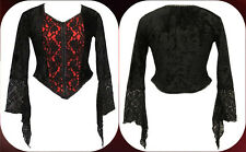 DarkStar Red Purple Velvet & Black Lace Gothic Vampire Corset Top Freesize 12-16