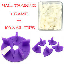 Nail Art Removable Training Frame  + 100PCS False Tips Practice Tool PURPLE