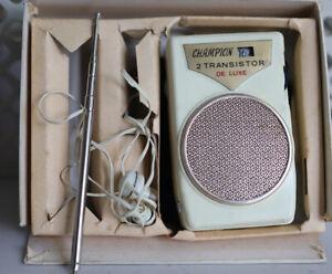 1950s CHAMPION 2 Transistor Radio with Case Earphone Box & Antenna Works! Japan