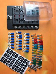 12Way LED Circuit Standard ATO/ATC Blade Fuse Box Block Holder For Auto Car Boat