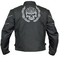 Mens Flaming Skull Armored Black Textile Motorcycle Biker Jacket