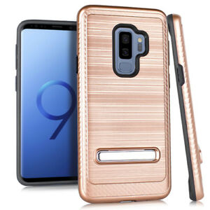 For SAMSUNG GALAXY S9+ PLUS - Hard Hybrid Brushed Kickstand Armor Case Rose Gold