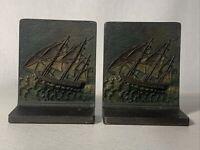 ANTIQUE 1920 RARE B&H CAST IRON SAIL SHIP CLIPPER 1779 BRADLEY HUBBARD BOOKENDS
