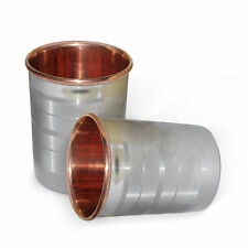 Copper Handmade 300 Ml Tumbler Health Set 2 Water Cup Silver Polished  Ayurveda
