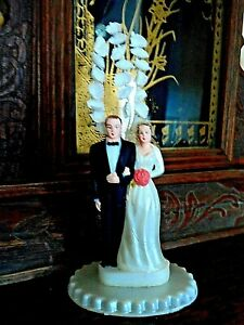 """Vintage Wedding Cake Topper Bride And Groom 1930-40's  """"New Old Stock"""""""