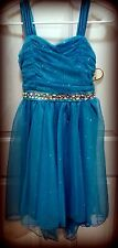 NWT Speechless Girls Sz 12 Sparkle Teal Tapered Ruffle Dress-Pageant or Formal