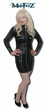 Misfitz blk leather look zip/padlock mistress dress sizes 8-32/made to measure