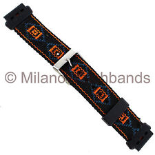 17mm Milano Heavy Durable Black Orange Blue Nylon Sport Watch Band Long