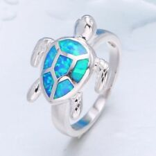 Fashion Women Blue Fire Opal Crystal Turtle Jewelry Silver Plated Wedding Ring 7
