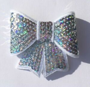 Christmas Hair Bow Silver Sequin Alligator Clip Hair Bow 3 inches 🇬🇧