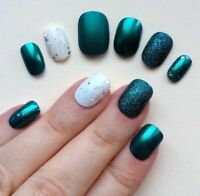 Hand Painted False Nails. ROUND PETITE Short oval Full Cover Glitter Teal UK