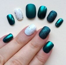 Hand Painted False Nails. ROUND PETITE Short (or longer) Full Cover Glitter Teal