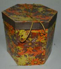 "Vintage Mod Flower Power Women's Ladies Hat Cardboard Box Octagonal 12"" x 12"""
