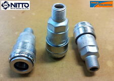 """Genuine Nitto Air Fittings - (3X) 1/4"""" Male One Touch Sockets"""