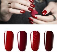 Lot 4 Vernis Ongles Gel Semi Permanent Rouge Paillette Bordeaux Nail Art Neuf FR