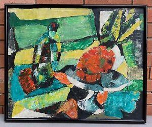 Vintage Abstract Still Life Oil Painting Mid Century Modern Art Signed Gumpert
