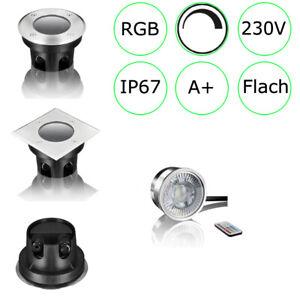 LED Bodeneinbaustrahler Außen 230V IP67 Gartenstrahler  RGB Bodenstrahler
