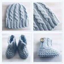 Hand Knit Newborn 0000 Baby Blue Beanie Hat Booties, Australian Merino Wool