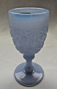 BOYD ART GLASS DAISY AND BUTTON WINE GOBLET  (BLUE CHIFFON) 1st FIVE YEAR
