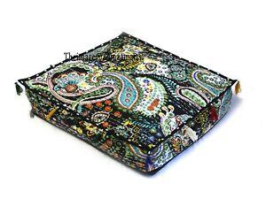 "30"" Square Black Cotton Cushion Cover Indian Handmade Kantha Floor Pillows Case"