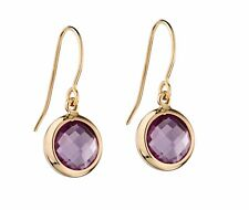 9CT Yellow Gold Amethyst Earrings with Giftbox