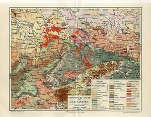 1895 GERMANY KINGDOM OF SAXONY GEOLOGICAL MAP GEOLOGY Antique Map