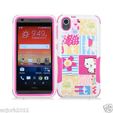 For HTC Desire 626 / 626s / 530 Hybrid Case w/Stand Skin Cover Patchwork Cat