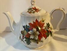 More details for sadler poinsettia teapot - christmas teapot - pristine condition displayed only