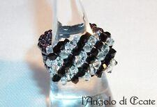 Idea regalo ANELLO artigianale donna cristalli Swarovski perline conteria nero