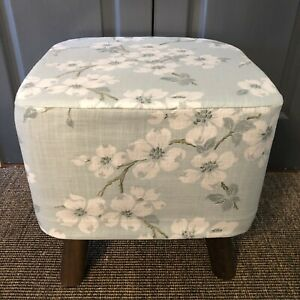 New Square Footstool With Handmade Removable Cover In Laura Ashley Iona  Fabric