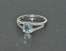 9ct white gold aquamarine & diamond split shoulder ring size O NEW