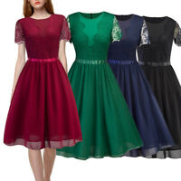 Women Floral Lace Formal Cocktail Party Dress Short Sleeve Bridesmaid Dress