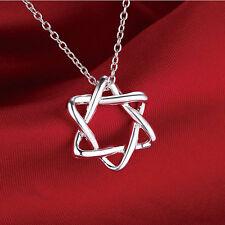 SILVER Plated 925 Stella di david ebraica Collana simbolo religioso ebraico. 1945