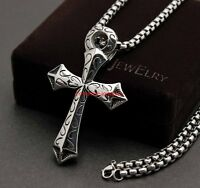 Fashion Hot Men's 316L Stainless Steel Silver Black Cross Pendant Necklace Chain