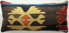 (25*50cm, 10*20inch) Boho kilim accent cover tribal striped black orange motifs