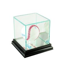 Glass Baseball Display Case With Uv Protection Black Wood Mirrored Base / Back