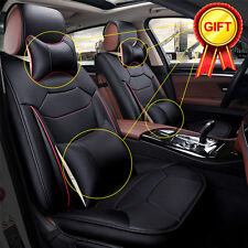 Black Microfiber Leather Seat Covers 5-Seats M Size Car SUV Front+Rear US Stocks
