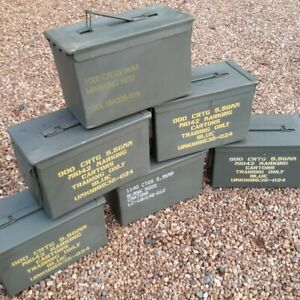 EMPTY STENCILLED AMMO CAN 50 Cal Pre-Used Military Surplus Storage Box Tool Box