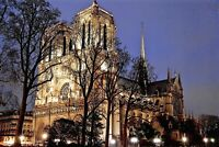 New Glossy Postcard, NOTRE DAME Cathedral Church Illuminated Paris France 29P