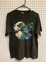 Vintage 80s Japanese Dragon Wave Black Graphic T-shirt Size XL